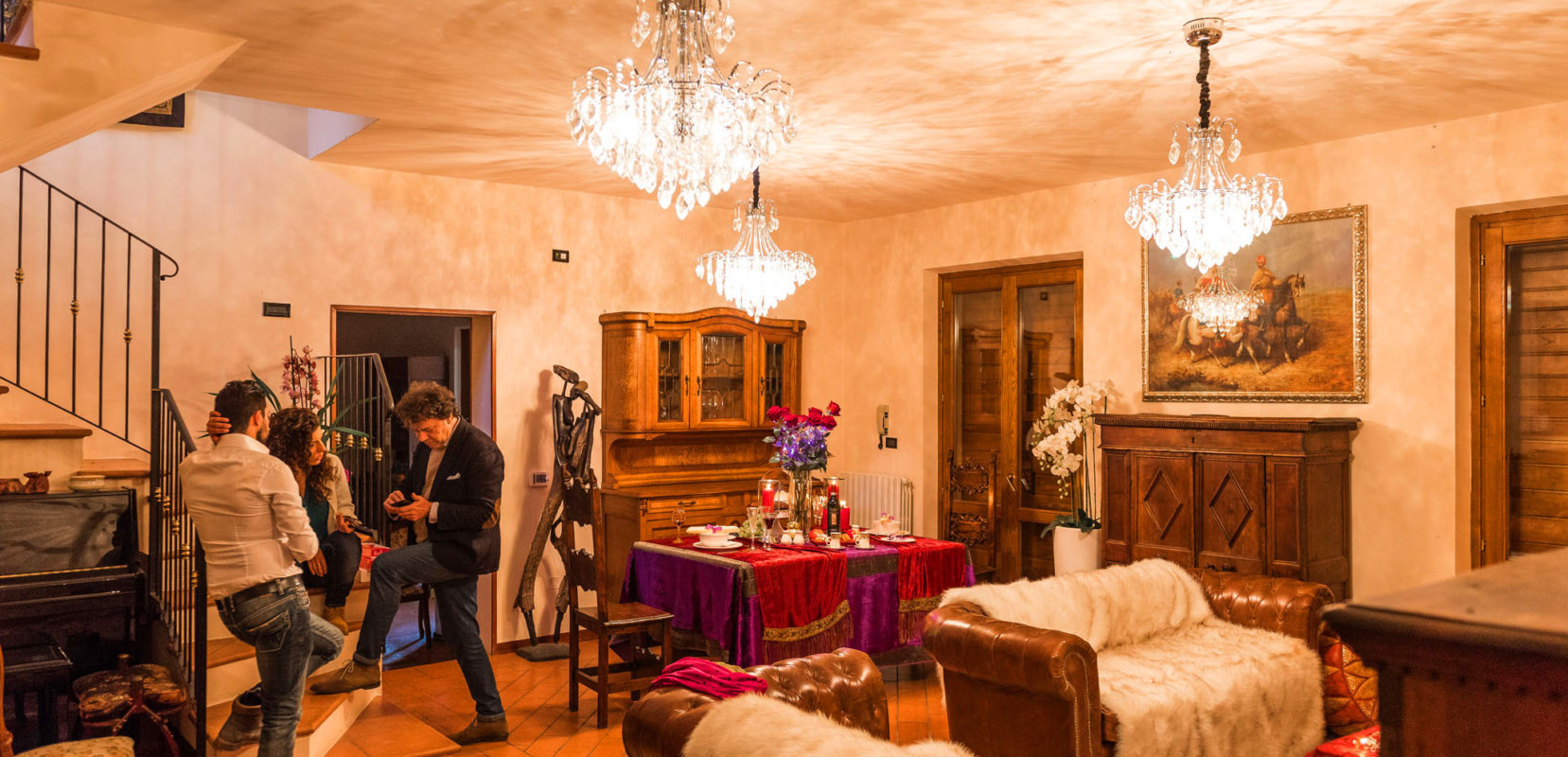 Luxury, people, meat, cristal chandelairs, sofas