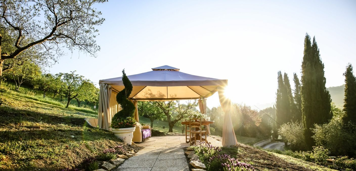 Luxury gazebo, Villa, garden, sunset, romantic